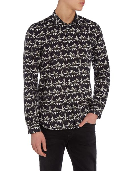 PS By Paul Smith Slim fit palm tree printed shirt