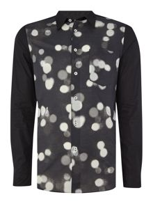 PS By Paul Smith Slim fit spot print contrast sleeve shirt