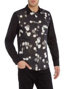 Slim fit spot print contrast sleeve shirt