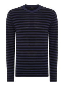 Crew neck block striped merino jumper