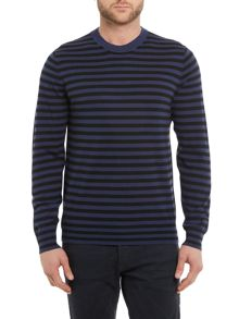 PS By Paul Smith Crew neck block striped merino jumper