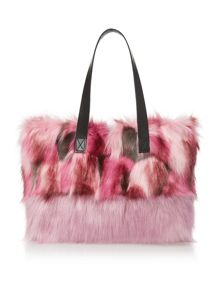 Helen Moore Pink Multi medium faux fur tote bag