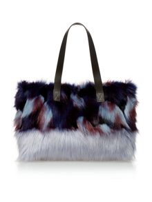 Helen Moore Blue Multi medium faux fur tote bag