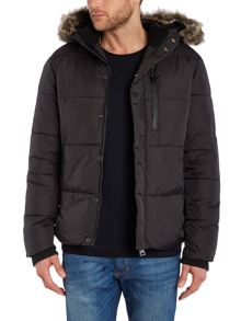 Schott NYC Short Padded Zip Up Faux Fur Hooded Jacket
