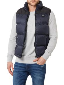 Schott NYC Padded Zip Up Logo Gilet
