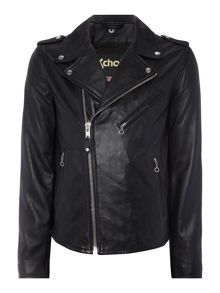 Schott NYC Asymmetric Zip Up Leather Biker Jacket