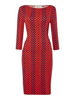 Printed side panel ruch 3/4 sleeve dress