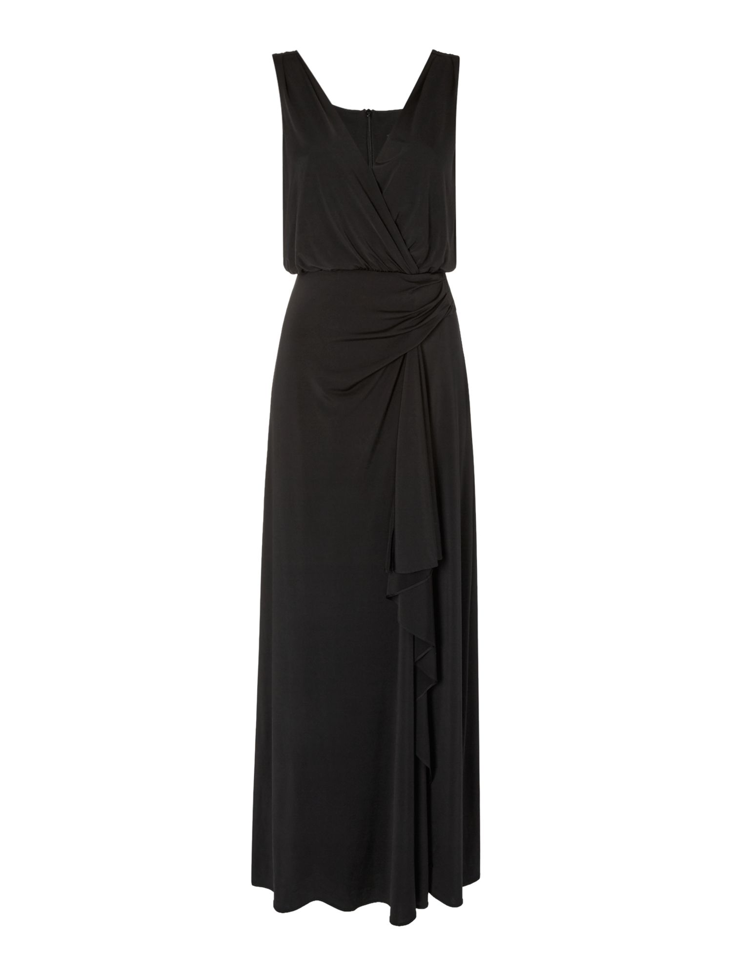 Untold Untold Jersey gown with drape back, Black