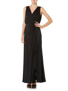 Jersey gown with drape back