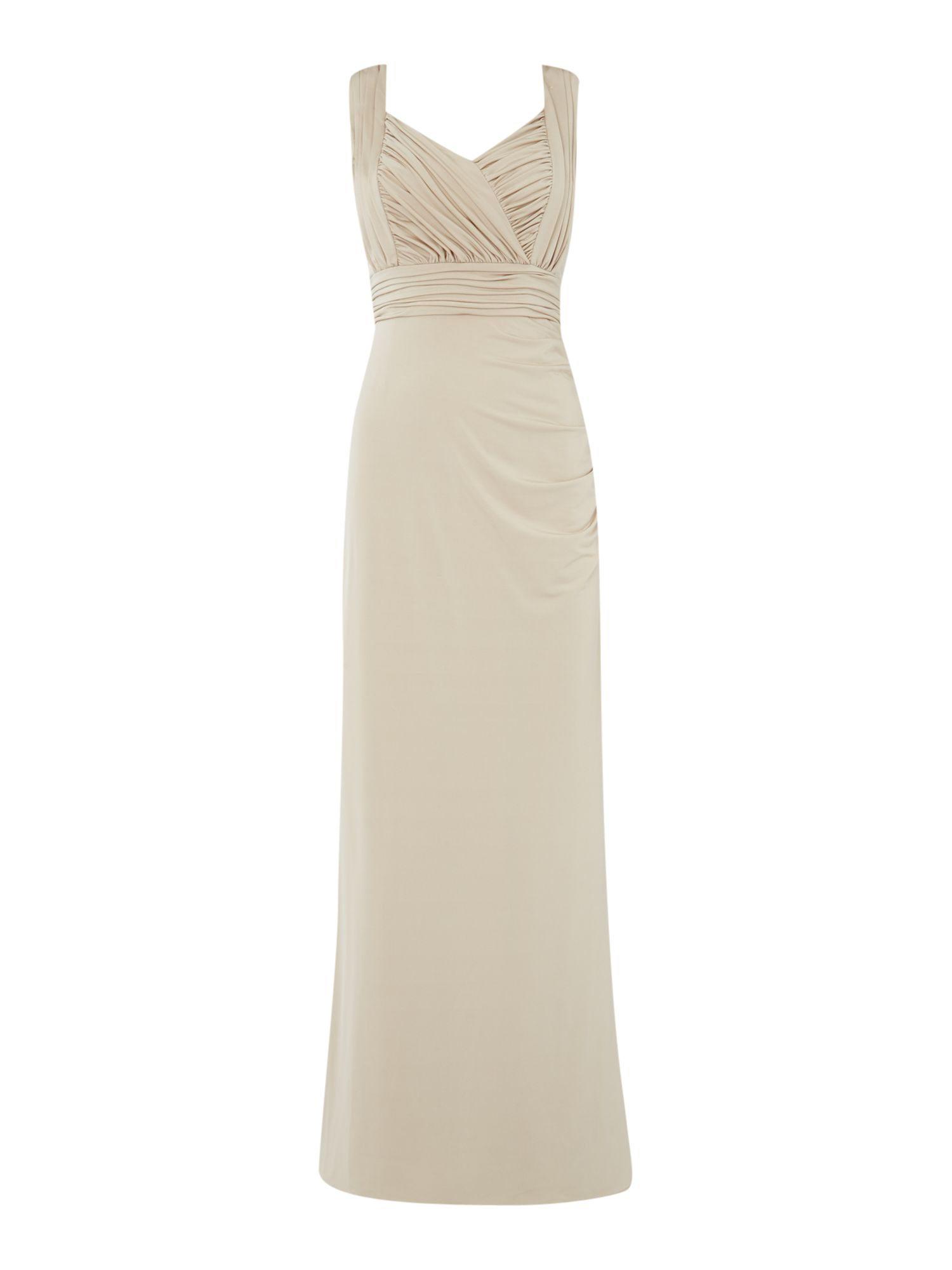 Untold Untold Jersey wrap gown with rouched bodice, Champagne