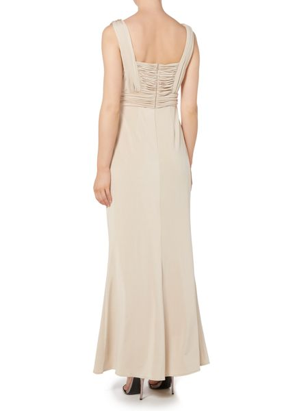 Untold Jersey wrap gown with rouched bodice