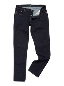 Tapered leg dark rinse jean
