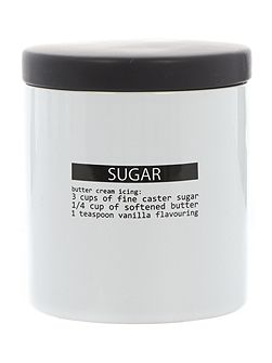 Word print sugar jar