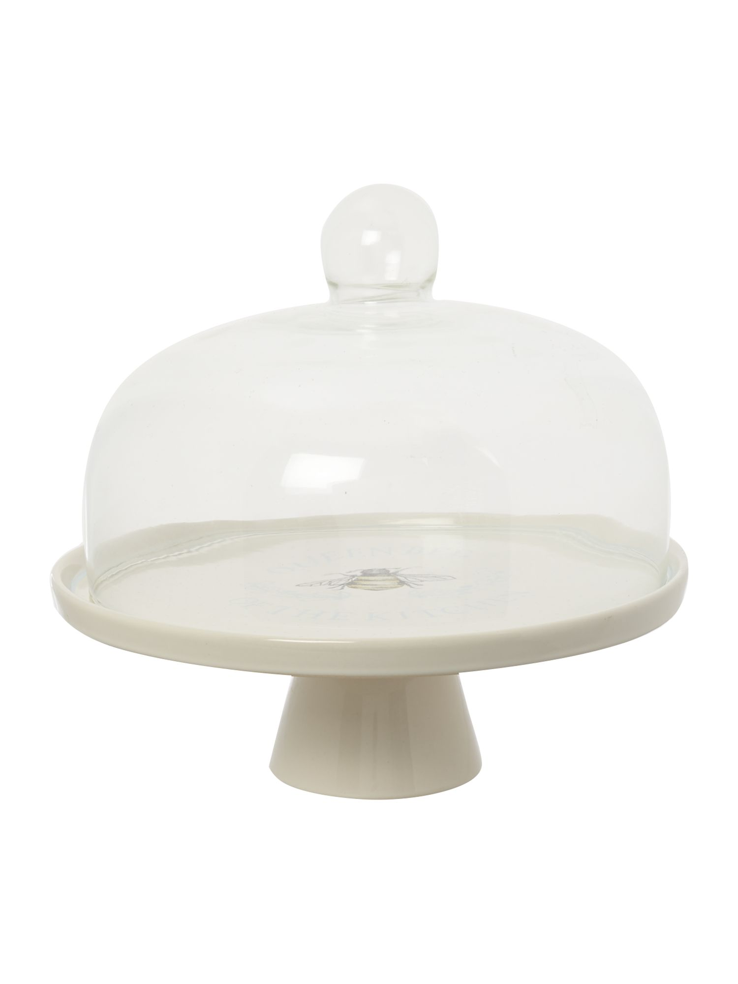 linea homespun dotty cake stand with glass dome tan. Black Bedroom Furniture Sets. Home Design Ideas