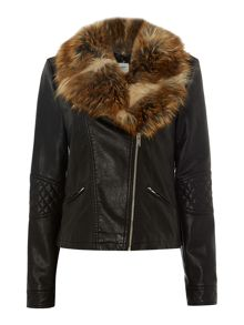 Long Sleeved PU Jacket with Fur Collar