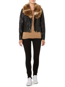 Vero Moda Long Sleeved PU Jacket with Fur Collar