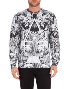 Regular Fit All Over Church Graphic Sweatshirt