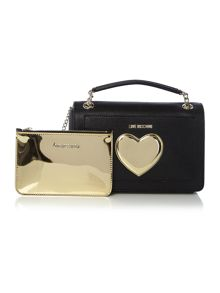 Love Moschino Gold Heart black medium shoulder bag