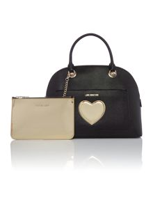 Love Moschino Gold Heart black medium dome bag