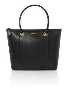 Love Moschino Lock black large tote bag
