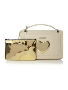 Love Moschino Gold Heart ivory medium shoulder bag