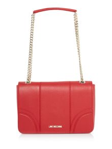 Love Moschino Lock red medium fold over shoulder bag