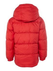 Boys puffer jacket and its fabric pocket