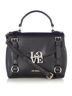 Love lock black medium satchel bag