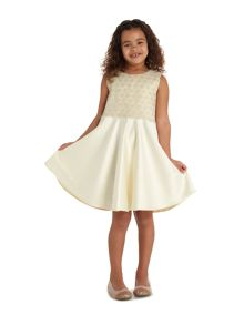 Little Dickins & Jones Girls Floral lace over lay satin dress