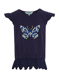 Girls Butterfly embroidered tee