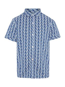 Boys Boat print short sleeved shirt