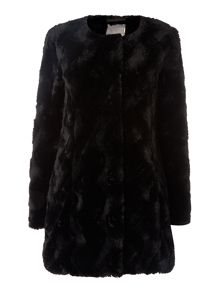 Long Sleeved Faux Fur Long Line Coat