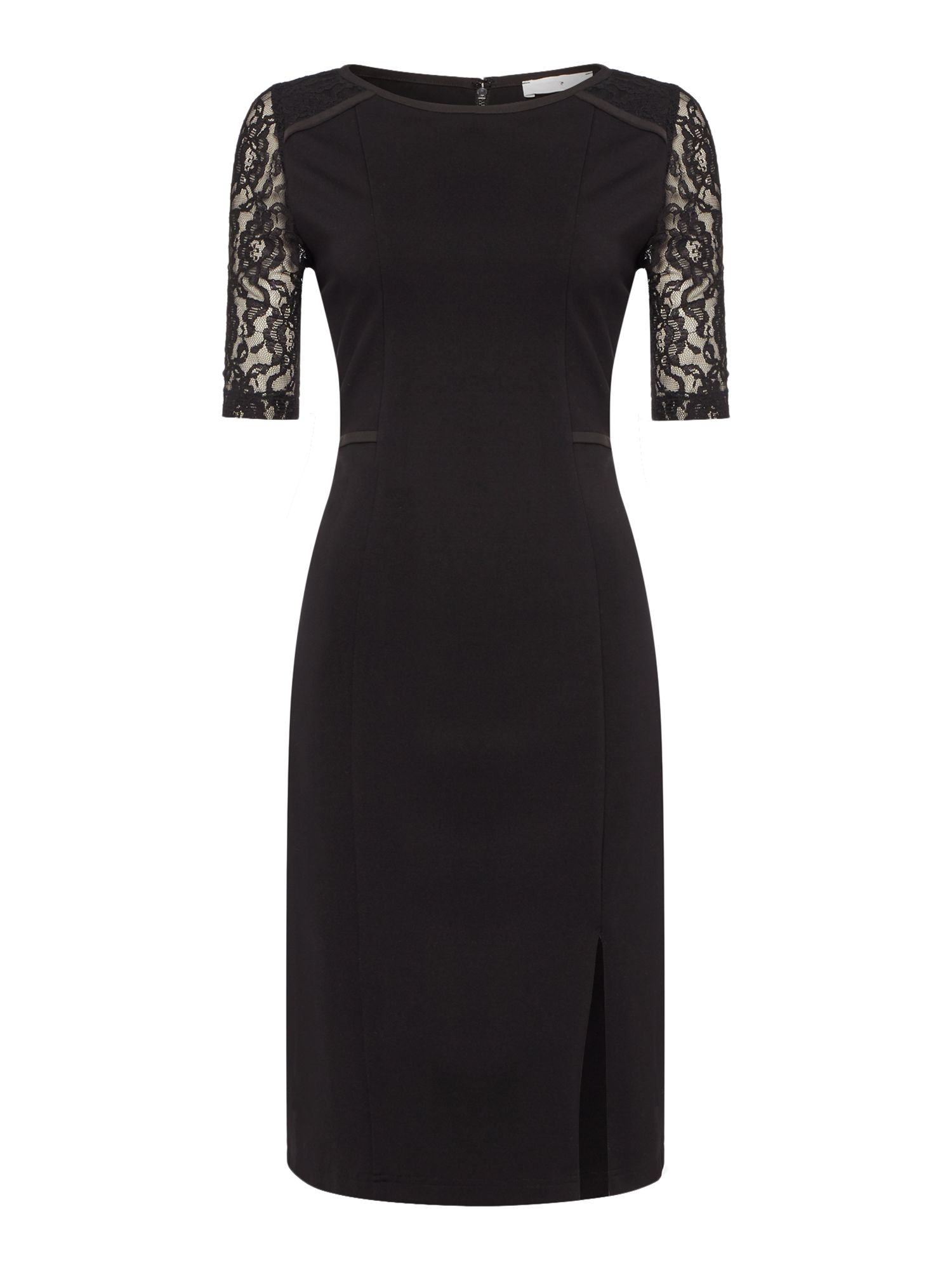 Pied a Terre Lace detail ponte dress, Black