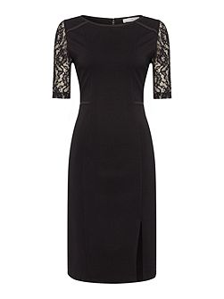 Lace detail ponte dress