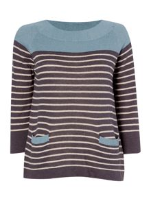 BRAINTREE Striped long sleeve top with pockets