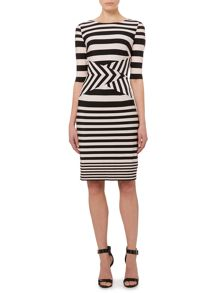 Jersey bodycon stripe dress