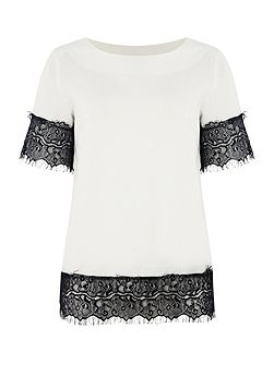 Short Sleeved Lace Trim Top