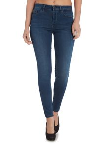 High rise skinny jean in crushed eighties stretch
