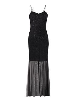 Sleeveless Beading Detail with Chiffon Maxi Dress