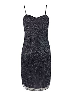 Lace and Beads Sleeveless All Over Beading Bodycon