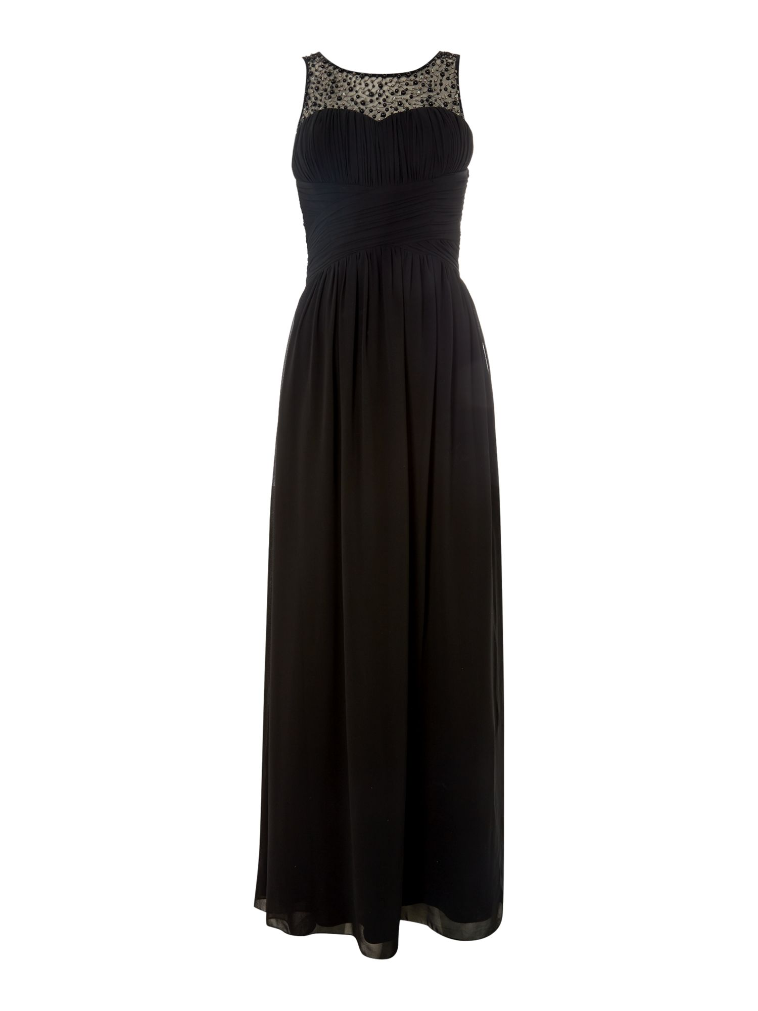 Little Mistress Beaded top maxi dress, Black