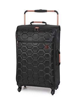 Black hexagon emboss 4 wheel soft medium suitcase