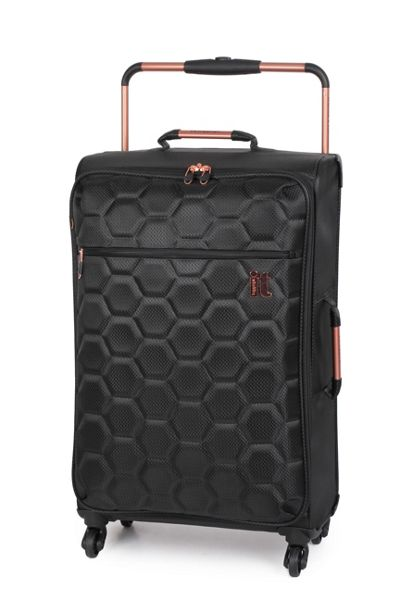 Linea Black hexagon emboss 4 wheel soft medium suitcase