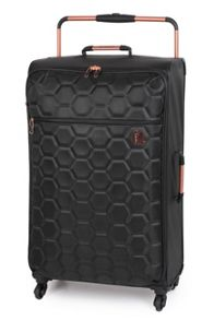 Black emboss hexagon 4 wheel large suitcase