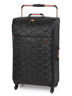 Black hexagon emboss 4 wheel large suitcase