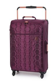 Linea Aubergine hexagon emboss 4 wheel medium suitcase