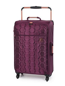 Aubergine hexagon emboss 4 wheel medium suitcase