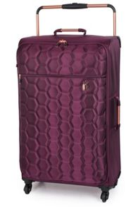 Aubergine emboss hexagon 4 wheel large suitcase