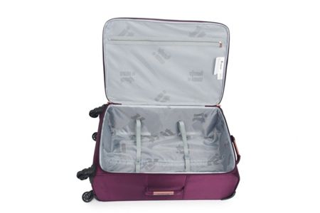 Linea Aubergine hexagon emboss 4 wheel large suitcase