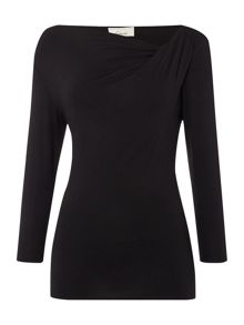 Twist cowl 3/4 sleeve jersey top